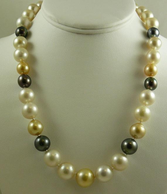 South Sea Multicolor Semi Round Pearl Necklace 14k White Gold Clasp