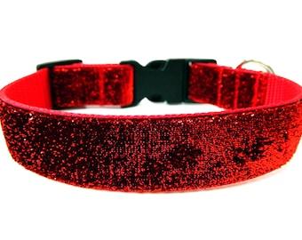 "Red Glitter Dog Collar 1"" Glitter Dog Collar Red Dog Collar"