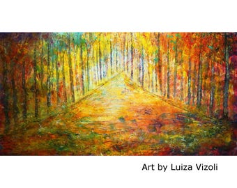 Large Canvas Painting 60x30 Original Wall Art SUNSET Trees Landscape HUGE Ready to Ship Art by Luiza Vizoli