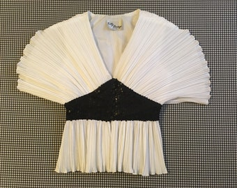 1980's, white, crinkle, seashell top, with tailored, black, button front, sequin waistband, Women's size Small