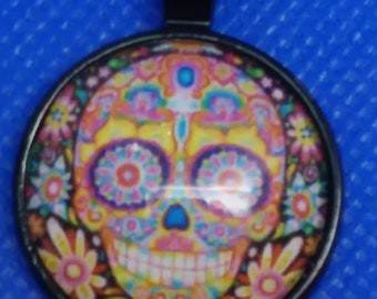"Day of the Dead 1"" Black Round Alloy Necklace Pendant"