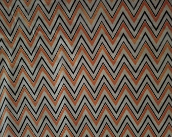 Orange and Tan Chevron Cotton Fabric by the yard