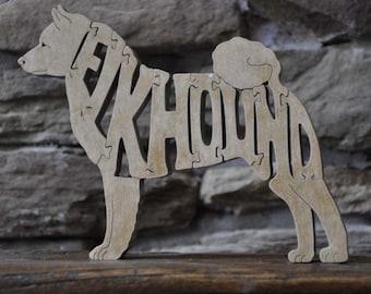 Norwegian Elkhound  Dog  Puzzle  Wooden Hand Cut Toy Figurine