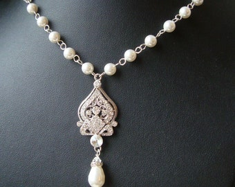 Art Deco Bridal Necklace, Wedding Necklace, Pearl Necklace, Crystal Wedding Necklace, Vintage Bridal Jewelry, JACQUELINE
