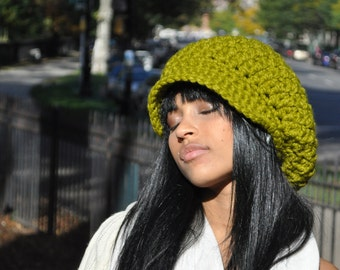 Women's Hat - Green Slouchy Newsboy Hat crocheted in Wool / Acrylic Blend Green hat - Winter Hat with Brim