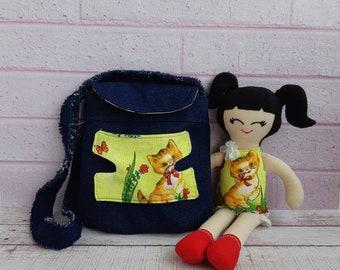 Baby doll carrier Denim bag Doll pattern Soft bag Bag with a doll  for girls Textile doll Tilda doll Interior doll pattern
