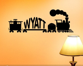 Vintage Style Train Wall Art, Vinyl Wall Decal: Custom Name Decals, Kids Room, Birthday Party Decorations, Kids Playroom Decor