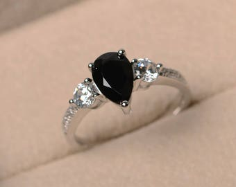 Natural black spinel ring, promise ring, pear cut spinel, gemstone ring, sterling silver ring