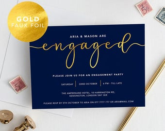 Printable Modern Engagement Party Invitation Navy Gold Foil / Calligraphy / Engagement announcement / Engagement Invite /PDF/Aria suite #077