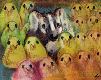 original art  aceo drawing badger with his peeps Easter