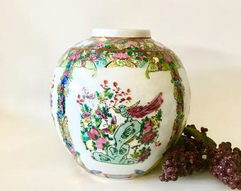 on sale replacement ceramic Chinese famille rose porcelain vase hand painted floral garden scene with birds