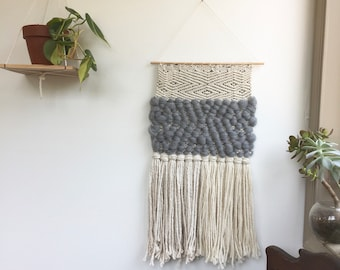 Grey Wool/Patterned Woven Wall Hanging