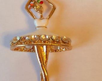 Golden ballerina dancer, white enamel + rhinestones
