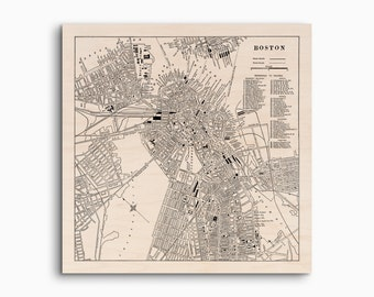 "Boston Wood Map, Ready to Hang Maple Wood Map, Boston City Map on Wood, Boston Wall Art and Home Decor, 12 x 12 "", 16 x 16"", and 20 x 20"""