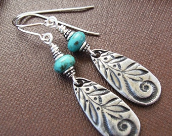 Turquoise Gemstone Earrings, Long Southwest Style Silver Dangles with Rare Nacozari Mine Stones, Western Cowgirl Birthday Gift for Her