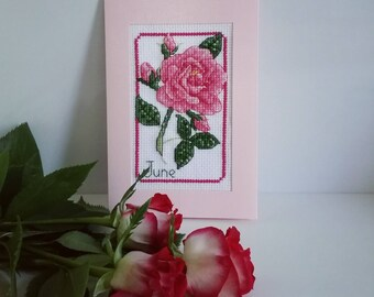 """Handmade Cross-Stitched Postcard """"June"""" 