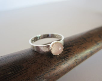 Personalized Rose Quartz Sterling Silver Ring