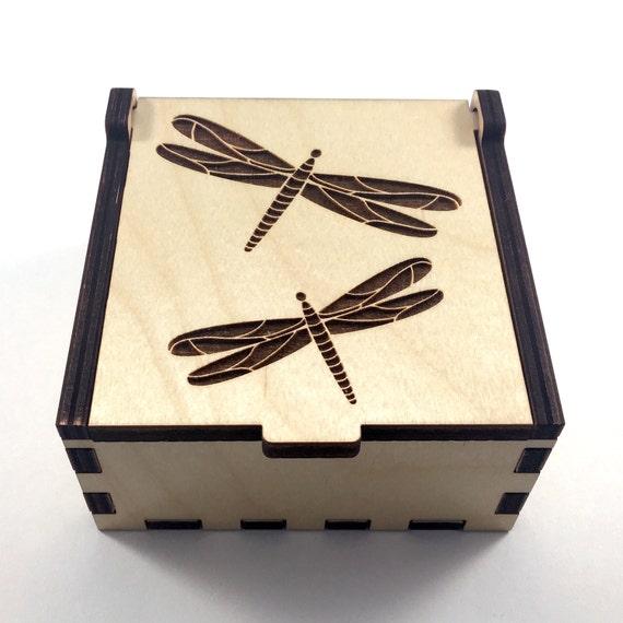 Dragonfly Jewelry Box Wood Trinket Box Small Jewelry Case