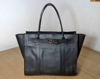 Ladies Black Leather Tote Handbag. The Ossiansleather Large Bayswater. Leather Shoulder Bag, Black Leather Tote. Black Leather Handbag