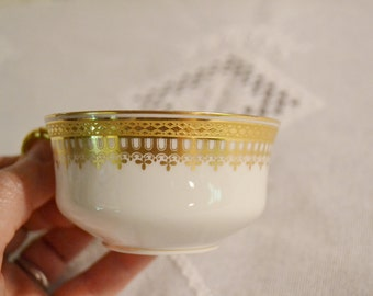 Vintage Haviland Limoges Cup Gold White Teacup Coffee Cup France Bridal Baby Shower PanchosPorch