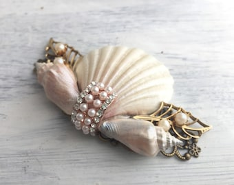 Beach Wedding No.15 - Shimmering Pearl Seashell and Vintage Jewel Assemblage Bridal Hair Comb, Coastal Wedding