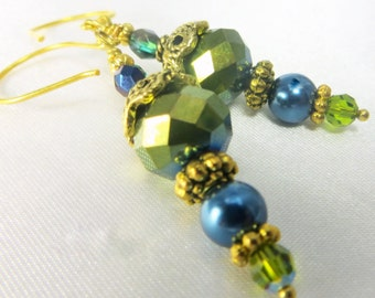 Teal and Green Swarovski Pearl and Crystal Earrings on 14k gold fill wires