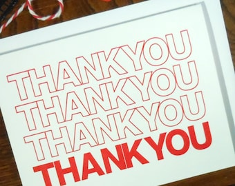 letterpress thank you bag greeting card pack of 6 shopping bag red & white generic thank you note perfect for all occasions