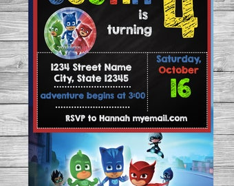 PJ Masks Birthday Party Invitation Customizable