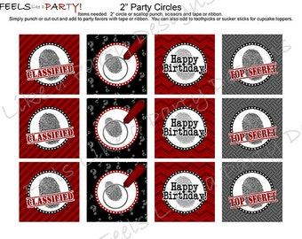 Secret Agent Cupcake Toppers - Instant Download