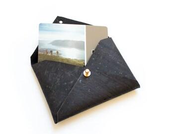 Black Cork Vegan Leather Card Case, Business Card Holder, Wallets under 30