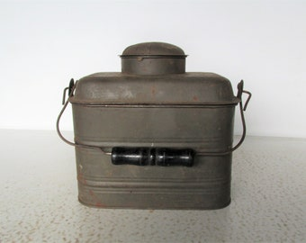 Antique Miners Lunch Pail Lunch Box with Canteen Lunch Bucket Tin
