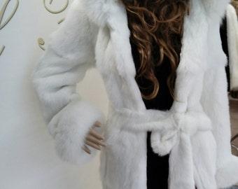 NEW!!!Natural Real Hooded White fullskin Rabbit Fur Coat with fox!!! шуба с лисой!