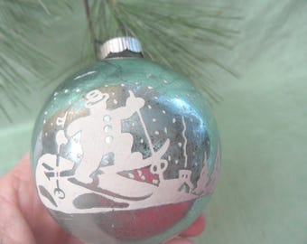 Skiing snowman glass ornament / vintage Shiny Brite stenciled snow ornament bauble ball