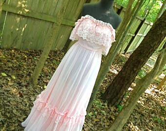 vintage light pink dress - 1970s lacy off shoulder long maxi by Lorrie Deb