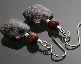 CLEARANCE. Snowflake Obsidian Earrings. Red Tiger Eye. Genuine Gemstones. Titanium Ear Wires. Fireworks Obsidian. f12e042