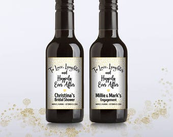 Party Favor Mini Wine Bottle Labels, Customized - Bridal Shower, Wedding, Engagement - Gold Confetti Dust - DIY Print, Printable PDF - #GCD