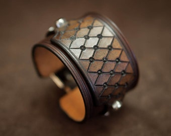 Brown cuff leather bracelet - handmade in France by Bandit