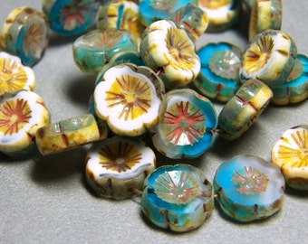 Czech Surf and Sand with Picasso 15mm Flat Flower Glass Beads (10) 0835-P
