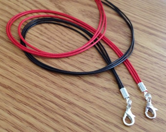 "NEW! 6 pcs Waxed Polyester Cord Necklaces Black Red Beige 16"" 17"" 18"" 19"" 20"" 22"" 24"" 26"" 28"" Handmade in the USA"