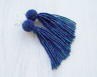 Beaded tassel earrings - Statement Earrings - Dangle Iridescent blue earrings - Long tassel earrings - Fringe earrings - beadwork earrings
