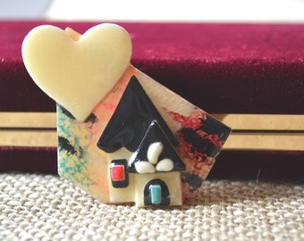 Lucinda Pin, House Brooch, Vintage Brooch, House Pin, House Brooch, Heart Pin, Acrylic Brooch, 1980's Pin, Lucinda Yates Pin