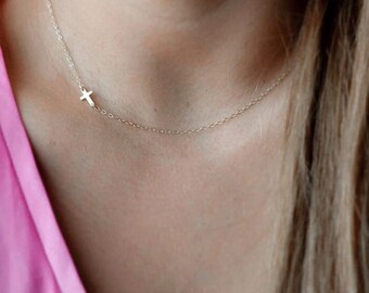 Silver Small Sideways Cross Necklace, Cross Necklace, Petite Cross, Religious Jewelry Mother's Day Gift inexpensive