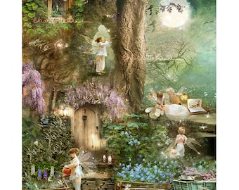 Moonrise Cottingley Beck fairy Print Mounted or unmounted or two sizes of plaques or notebook to choose from-All  signed  By Charlotte Bird