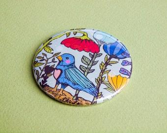 Garden Bird Pocket Mirror - Gift Idea - Present - Birthday - Magical - Illustrated - Illustration