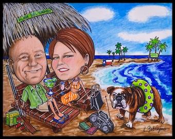 Custom caricature, valentine caricature, retirement women, retirement men, retirement cartoon, retirement caricature, wedding gift, Mexico