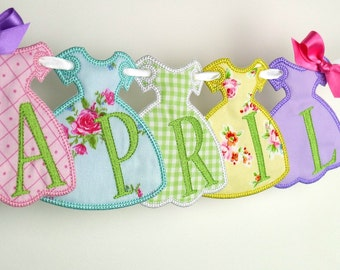 "Party Dress Banner In The Hoop Project Machine Embroidery Design Applique Pattern 2 variations in 3 sizes 4"", 5"", 6"""