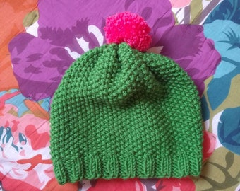 Hand knit cactus hat in adult size