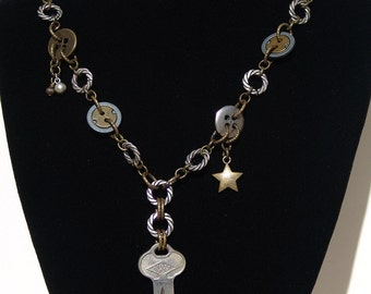 Key and Button Mixed Metal Necklace