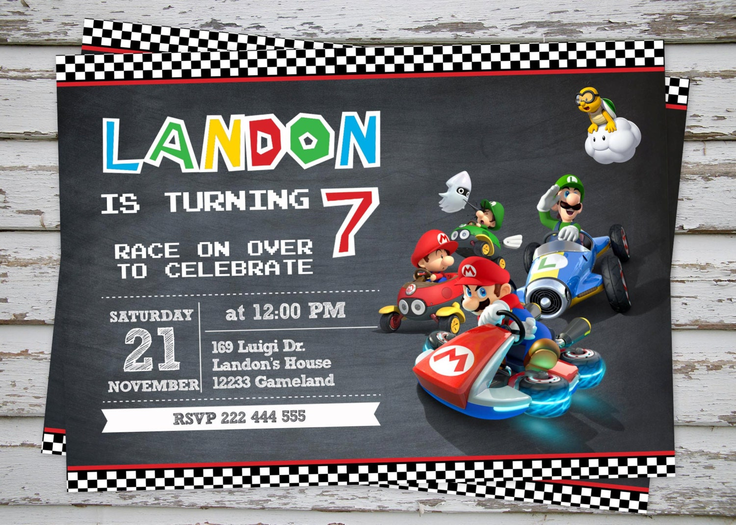 Mario Kart Birthday Party Invitation Super Mario Birthday