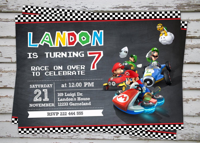 Mario Kart Birthday Party Invitation Super Mario Birthday